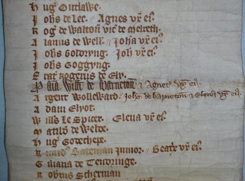 Bede roll of the Guild of the Blessed Virgin Mary